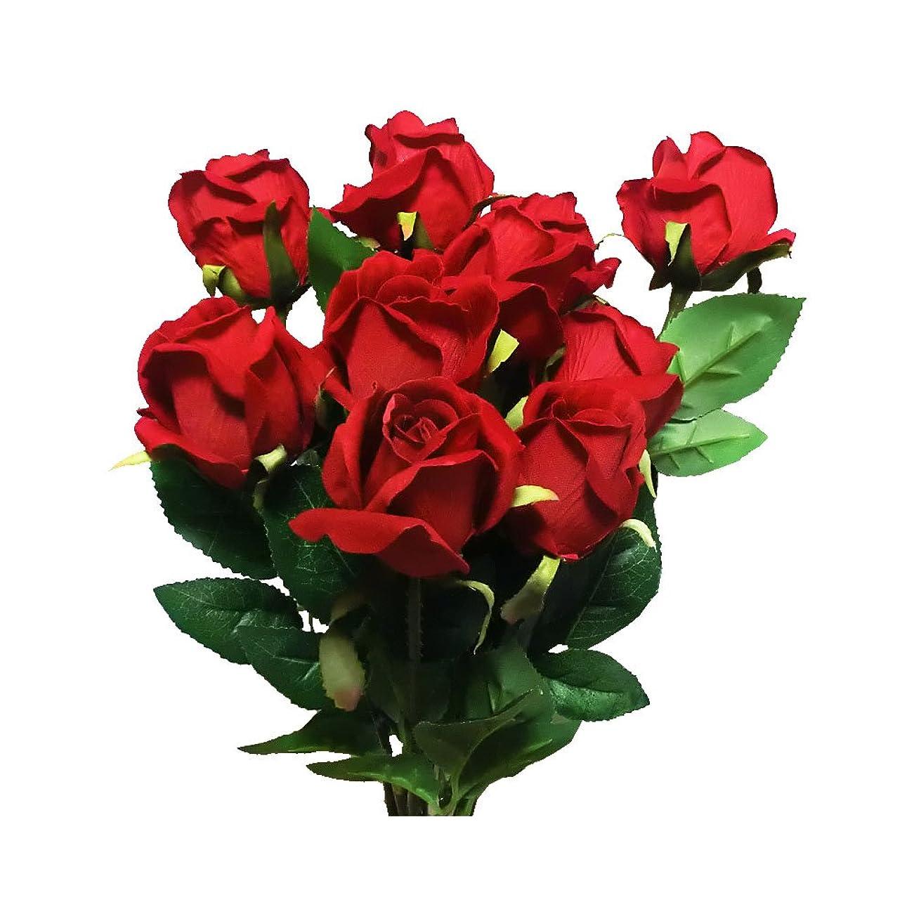 以上粒子対処するGuCra バラ 薔薇 造花 10本セット 花束 ギフト?プレゼント FLC-1 (レッド)