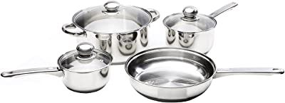 Kinetic Classicor Series Stainless Steel Cookware Set with Lids , 7-Piece, 7 Piece Set, Stainless Steel