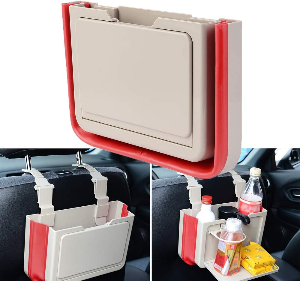 ATMOMO Black Multifunctional Car Trash Can Folding Storage Box Car Cup Holder Car Organizer Hanging for Headrest