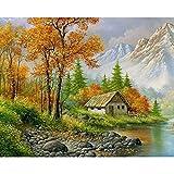 Pintura de bricolaje por números paisaje casa pintura al óleo para adultos sobre lienzo dibujo para colorear por número decoración del hogar A4 45x60cm