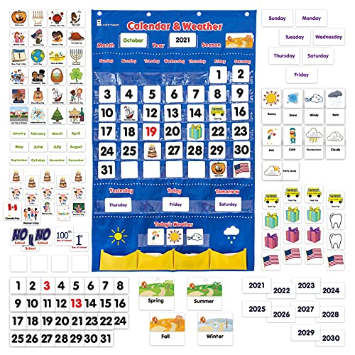 Calendar and Weather Pocket Chart for Kids Learning from Home and School