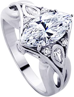 925 Sterling Silver Wedding Ring Marquise CZ Stone Vintage Inspired Royal Design Engagement Ring (Size 5 to 9)