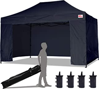MasterCanopy Ez Pop-up Canopy Tent 10x15 Commercial Instant Canopies with 4 Removable Side Walls and Roller Bag, Bonus 4 SandBags (10x15 Feet, Black)