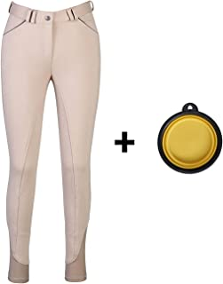 HR Farm Ladies Middle Rise Full Seat Silicone Knit Breeches Women Riding Pants with 1 Dog Bowl