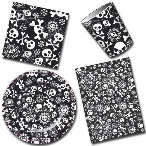 Partie set crâne vaisselle partie plaque tasses/gobelet nappe serviette