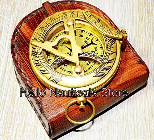 WYJW Messing Zonneklok kompas met lederen tas en ketting - Push-Open-kompas - Steampunk-accessoires - Antiquise afwerking - Prachtig handgemaakt geschenk - Zonneklok