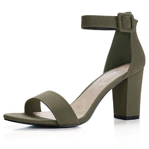 9cc07c119592 Allegra K Women s High Chunky Heel Buckle Ankle Strap Sandals