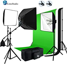 LimoStudio 2400W Softbox Boom Lighting Kit with Photograpghy Studio 6 x 9ft Chromakey Green, Black, White Backdrop Background Support Kit, AGG717