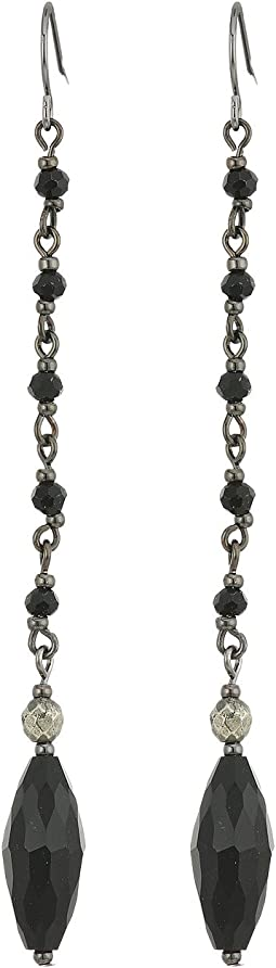 Pyrite Beaded Linear Earrings