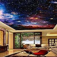 寝室の壁の装飾カスタム写真3D壁画宇宙星の空のリビングルームの天井ヨーロッパスタイルの家の装飾アート天井の壁紙防水-200 * 140Cmの壁のアートの装飾壁画の壁紙ホームD