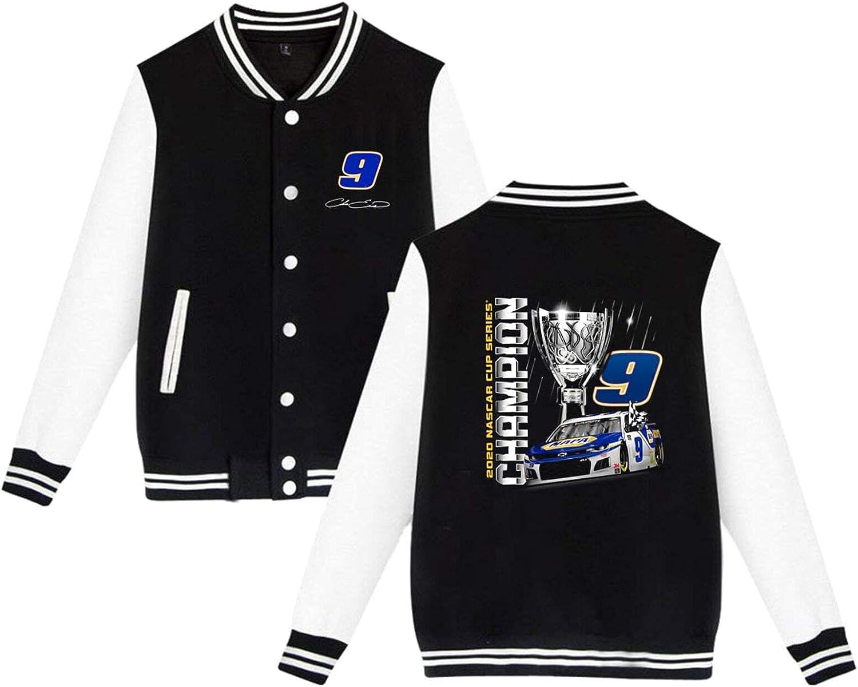 RSVPhandcrafted Chase Elliott 9 Baseball Uniform Jacket Sport Coat Long Sleeves Varsity Unisex Sweatshirts Streetwear with Pocket Lightweight Windbreaker Full Zip Active Outwear