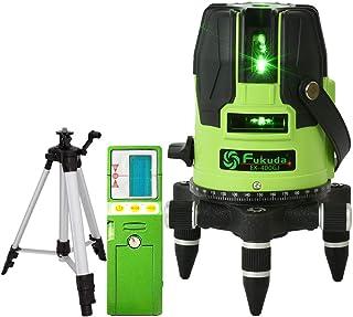 FUKUDA 5ライン グリーンレーザー墨出し器+受光器+エレベーター三脚セット EK-400GJ リチウム電池+単3電池+ACアダプターも対応可能 4方向大矩照射モデル メーカー1年保証