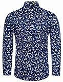 fohemr Camisa de Manga Larga para Hombre Estampado Floral Casual con Botones Camisa Retro Flores Estilo 100% algodón Estampado Floral Armada Large