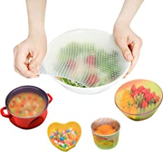 Reusable Silicone Food Wrap Cling Film, Silicone Stretch Lids, Seal Cover Stretch Cling Film(5 Pcs)