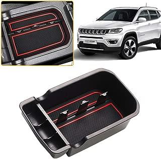 Broco Bandeja Organizador Car Center Consola Apoyabrazos Caja de almacenamiento Guante de Jeep Compass 2017 Negro