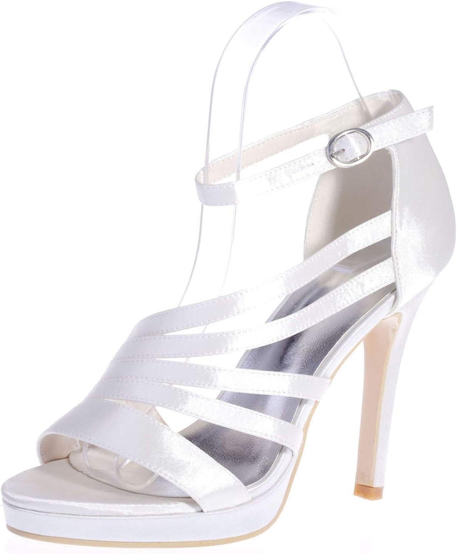 LLBubble Women's High Heels Platform Satin Wedding Sandals Ankle Buckle Straps Open Toe Formal Party Dress Bridal Sandals 5915-23