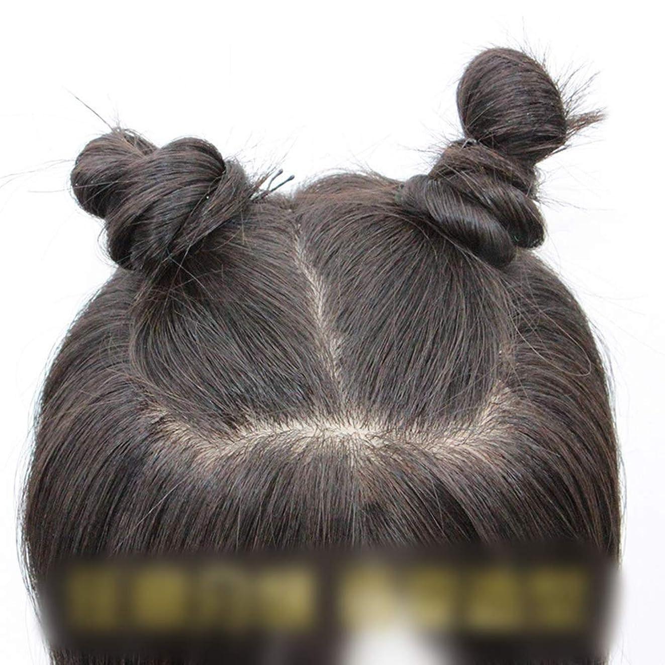 グッゲンハイム美術館あいまいな堀YESONEEP リアルヘアエクステンション3Dハンドニードルカバーホワイトヘアウィッグパーティーウィッグで女性のロングストレートヘアクリップ (Color : Natural black, サイズ : 25cm)