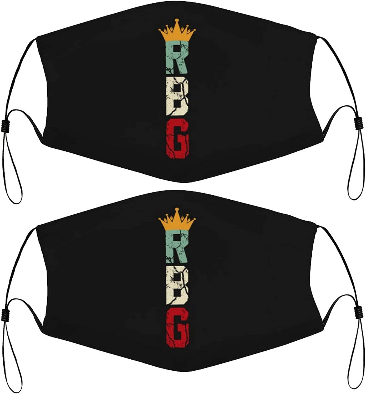 RBG Vintage Kids Face Masks Set of 2 with 4 Filters Washable Reusable Breathable Black Cloth Bandanas Scarf for Unisex Boys Girls