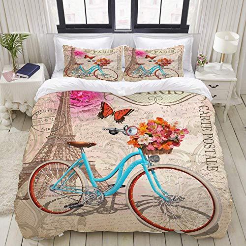 Juego de Funda nórdica, Bicicleta Postal Vintage de la Torre Eiffel, Juego de Cama Decorativo Colorido de 3 Piezas con 2 Fundas de Almohada