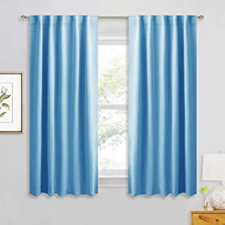 RYB HOME Living Room Darkening Curtain Panels with 2 Hanging Types, Kids Bedroom Curtains for Decor/Light Shade, Window Curtain Daperies for Bath/Doorway, 42 x 54, Sky Blue, 2 Pieces