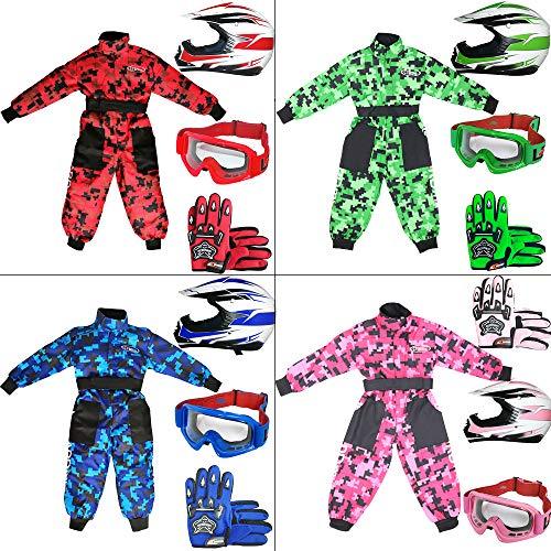 Leopard LEO-X16 Verde Casco de Motocross para Niños (S 49-50cm) + Gafas + Guantes (S 5cm) + Camo Traje de Motocross para Niños - S (5-6 Años)