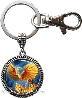 Phoenix Keychain, Phoenix Key Ring, Pheonix Jewelry, Phoenix Charm, Men's Keychain,Phoenix Jewelry Fantasy Bird Phoenix.F152 (E1)