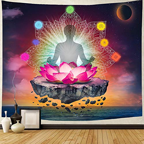 GEVES Chakra Tapestry Buddha Lotus Indian Yoga Meditation Tapestries Wall Hanging Tapestry Inspirational Mural for Bedroom Dorm Home Decoration