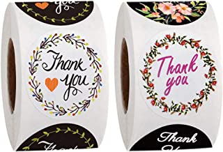 2 Roll 2. 5cm Flowers Thanks Stickers Thank You Words Sticker Delicate Packing Label Creative Wrapping Stickers for Baking...