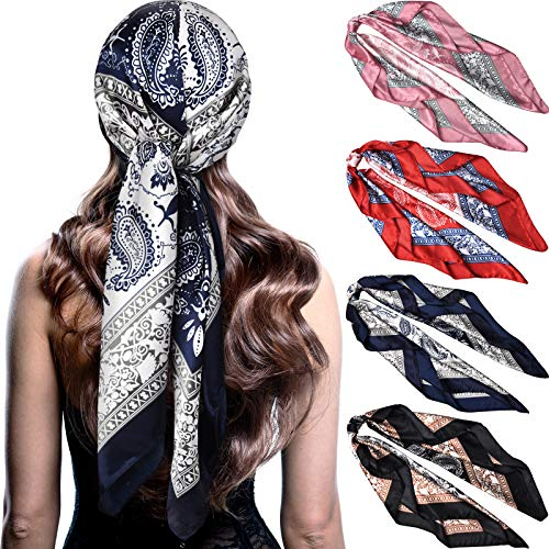 4 Pieces 35 Inch Satin Head Scarves Large Square Silk Feeling Satin Head Scarf Boho Hair Bandanas Head Scarves for Women (Chic Pattern)