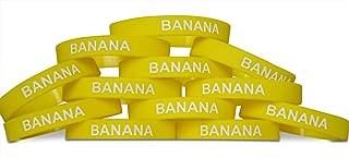 Novel Merk Banana Yellow Kids Party Favor & School Carnival Prize Silicone Rubber Band Wristband Bracelet (12 pieces)