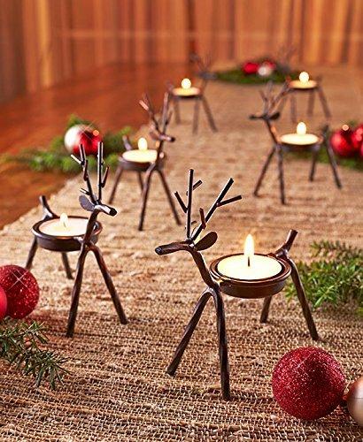The Purple Tree Cast Iron Christmas Reindeer Tealight Holder, Pack of 2