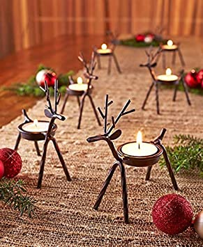 Buy The Purple Tree Cast Iron Christmas Reindeer Tealight Holder Pack Of 1 Online At Low Prices In India Amazon In