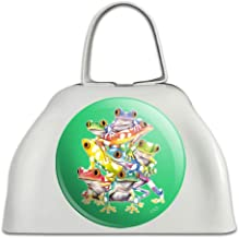 Tropical Rainforest Tree Frog Balancing Act White Metal Cowbell Cow Bell Instrument