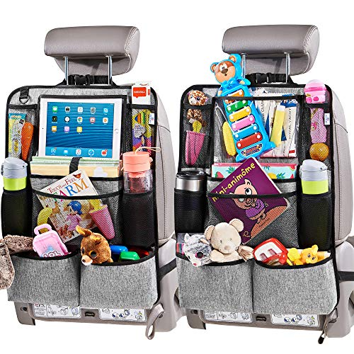 "Helteko Backseat Car Organizer - Kick Mats Back Seat Protector with 10"" Tablet Holder - Car Back Seat Organizer for Kids - Car Travel Accessories - Kick Mat with 8 Storage Pockets, Gray (2 Pack)"