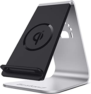Bestand Qi Wireless Charger, Wireless Charging Stand & Holder Compatible with iPhone XR/XS Max/XS/X / 8/8 Plus, Samsung Galaxy S10/S9/S9+, Silver