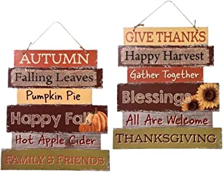 Greenbrier Fall Decoration Hanging Indoor Outdoor Welcome Wood Sign – Thanksgiving..