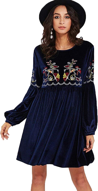 Milumia Women's Tasseled Tie Bishop Sleeve Embroidery Velvet Sexy Dress