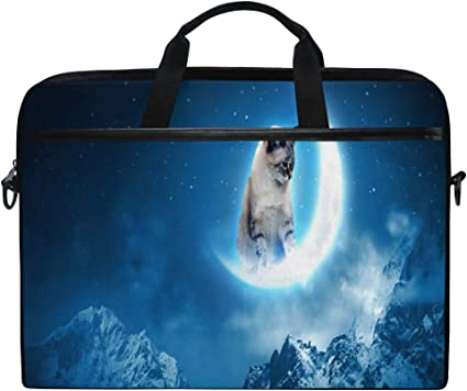 Cat in Love at Night with Moon 15-15.4 Inch Laptop Case and Tablet Shoulder Bag Carrying Case