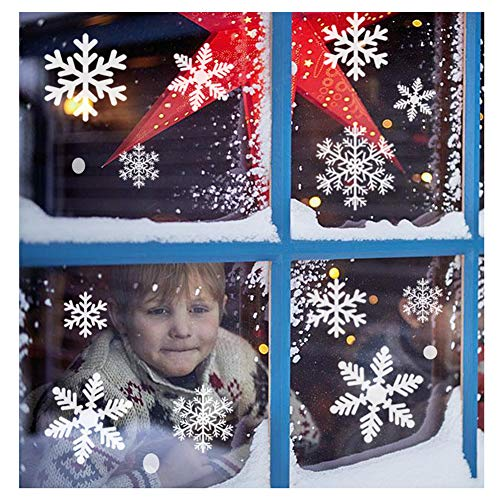 Sunboom Christmas Decorations Snowflake Window Clings Snowflakes Stickers Windows Decals for Kids [150+ Pcs] White Snowflake Ornaments Winter Snow Holiday Decal (8 Sheet)