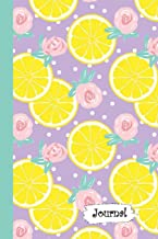 Journal: Citrus Lemon & Roses Purple Background Diary with Blank Lined Notebook Paper