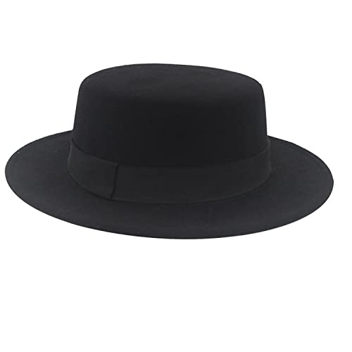 Norboe NE Women s Brim Fedora Wool Flat Top Hat Church Derby Bowknot Cap 7f595077f3f