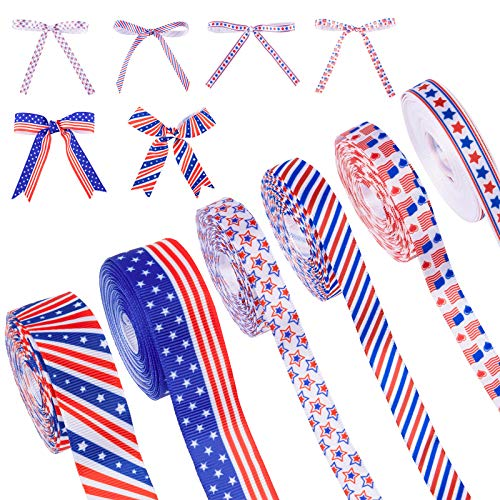 """Whaline 6 Patriotic Ribbon Roll 3/8"""" & 7/8"""" Red White Blue Stars Stripes USA National Flag Printed Grosgrain Ribbons Satin Ribbon for 4th of July Independence Day Gift Wrapping Craft Sewing, 30 Yard"""