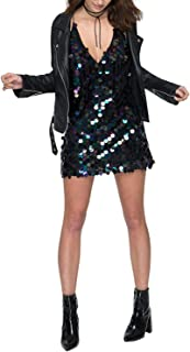 HaoDuoYi Womens Shiny Sequin Spaghetti Strap V Neck Disco Club Wear Long Top