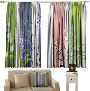 GUUVOR Flower Heat Insulation Curtain Spring Flowers on Different Backgrounds Lily Blossoms Valley Primrose Floral Print for Living Room or Bedroom W52 x L63 Inch Multicolor