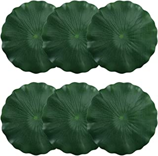 HO2NLE Artificial Pond Plant Floating Lilies Pad Realistic Non-Toxic Water Mat for Home Garden Patio Koi Pond Aquarium Swimming Pool Bird Baths Wedding Party Decor (30cm Pack of 6)