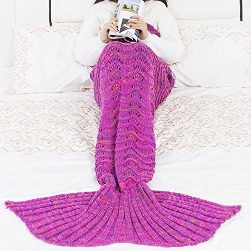 QQFENG Manta De Sirena De Punto Manta De Dormir para Niños Adultos 180 X 90cm 550G Rosado Morado