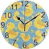 ALLdelete# Wall Clock Reloj de Pared Redondo de Pato Amarillo para bebés Reloj de Pared Decorativo silencioso sin tictac Reloj de Pared para Oficina en el hogar operado por batería