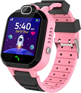 Smartwatch Niños - Juego De Musica Conversación Bidireccional Por Voz Reloj Inteligente Smart Watch SOS Cámara Pantalla táctil HD Deporte Reloj de Pulsera Digital para Niños De 4-12 Años (Rosa)