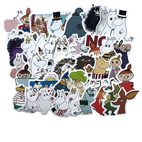 BLOUR 40pcs Aufkleber wasserdichte Reisetasche Mode Moomin Cartoon Spielzeug Aufkleber Skateboard Buch Kühlschrank Aufkleber Dekoration