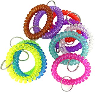 Honbay Flexible Spiral Coil Wrist Band Key Ring Chain, Pack of 10, Assorted colors